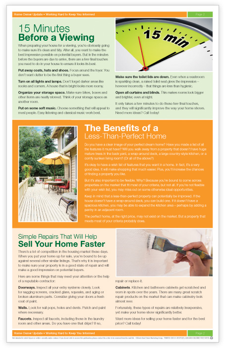 The Home Owner Update real estate direct mail marketing newsletter