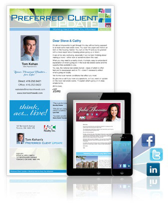 Effective real estate marketing includes direct mail, email, and social media.